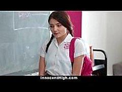 InnocentHigh - Chica de la escuela presionada para desnudarse y joder profesor