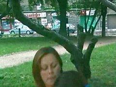 Fucking hot brunette in public park