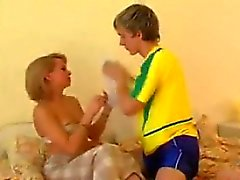 Lucky Young Guy And A Blonde Cougar