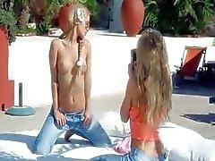 charmante tiener blondjes kutje eten