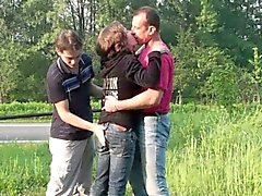 Daring public group sex gangbang threesome orgy PART 1