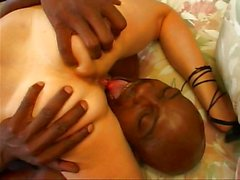 Big black cock in two holey interracial