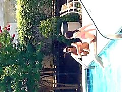 Pool girls watch BBC bulge