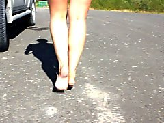 My lovely wife barefoot walking