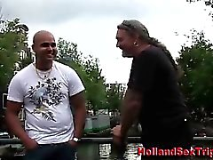 Blonde whore sucks cock for cash