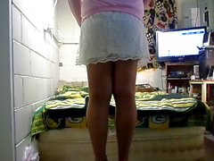 white lace skirt and nylons