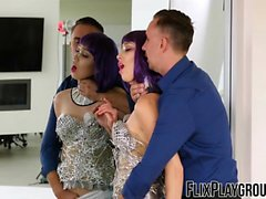 Purple haired cosplay babe has a kinky sex party with a hunk