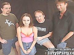 Tiny Tit Cutie Group Fucked Jizz Party!