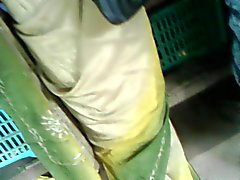 satin saree aunty back