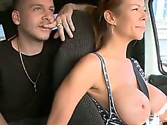 Busty sweetheart imbibes a hard pecker
