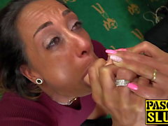 Submissive UK MILF chokes on a dildo and receives ass fuck