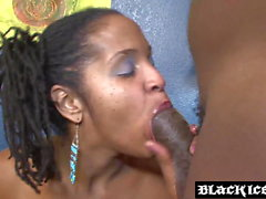 Black babe Kitty Smiles spread for fingering before plow