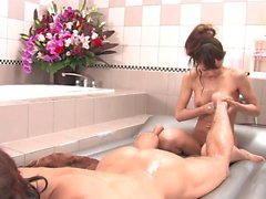 Young beauty and horny dude have sensual fuck in the bathtub