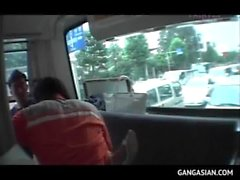 Japanese sex slave forced into hardcore fucking in bus gangbang