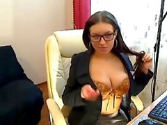 Czech Secretary fingers in nylons webcam