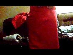 Transgirl in Red Skirt Suit and masturbates in bra slip