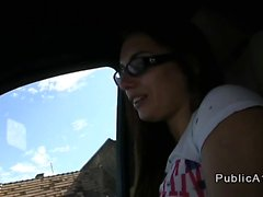 Student with glasses fucks in the car in public pov