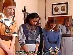 Pigtail vintage girls caned