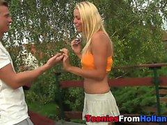 Teen milks dick in garden