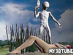 Hot Babe rossa 3D succhia un cock gli alieni grigi