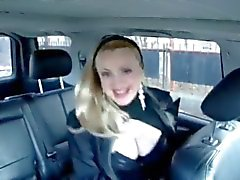 Sashka Vaseva sings and shows her amazing big boobs in a car
