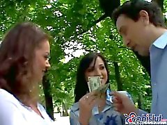 Two Hungarian MILFs have fun with guy