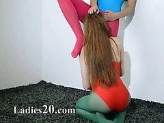 Hairy lesbians in nylon panties loving