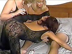 Three Hot Mature Cougars Share Smoking BJ