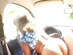 Arab babe Samia in a car