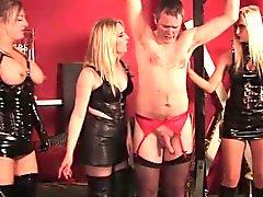 British mistress trio flogging a sissy slave