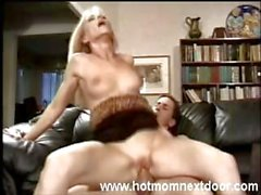Hot mom is doing her best to make him cum