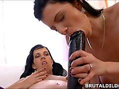 Brunette lesbians sharing a big black brutal strapon dildo in HD
