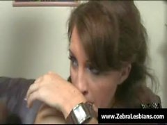 Zebra Girls - Ebony lesbian babes enjoy deep strap-on fuck 13