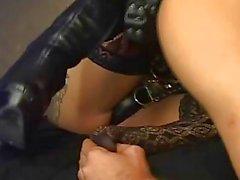 Guy licking shemales feet before sucking her dick