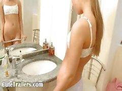 Ivana cheerleader pleasuring both holes