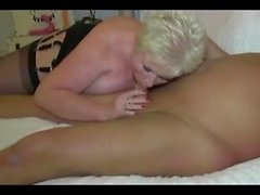 Mature couple pleasing