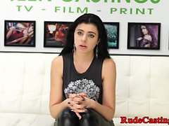 Roughfucked babe doggystyled at casting