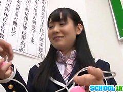 Schoolgirl receives pleasures from two cocks