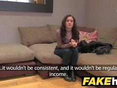 Fake Agent UK Petite teen gets cum splattered face