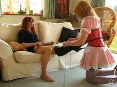 Hot blonde TGirl maid worships tranny mistress feet and then sucks her big cock
