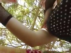 French slut with glasses and pigtails analfucked