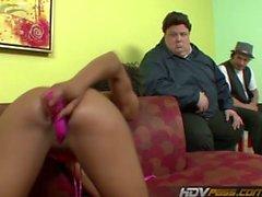 Ebony Goddess Misty Stone Rubs Her Juicy Pussy for the Camera