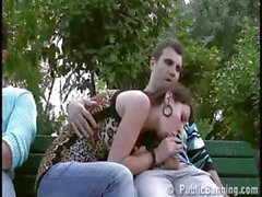 Threesome near the Eiffel Tower by these brave and crazy trio