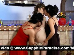 Sensual lesbos kissing and getting naked and getting naked and having three way lesbo orgy