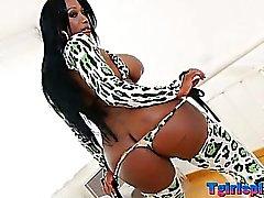 Huge tits black Tgirl Jackeline analized
