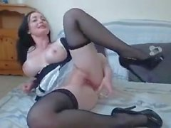 Hot busty brunette maid webcam