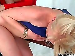 One lucky guy is fucked by two horny