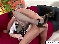 Mature british milf in stockings fucked on floor