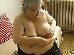 Old BBW Granny with big boobs masturbate with big dildo