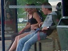 puplic - 3some in a bus stop